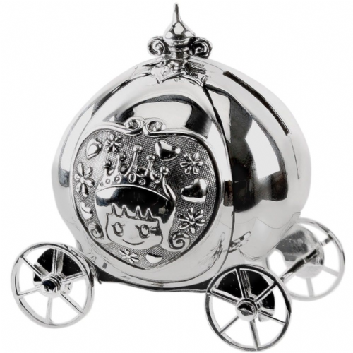 Princess Cinderella Carriage Money Box - Silver Plated Baby Girl Christening Gift